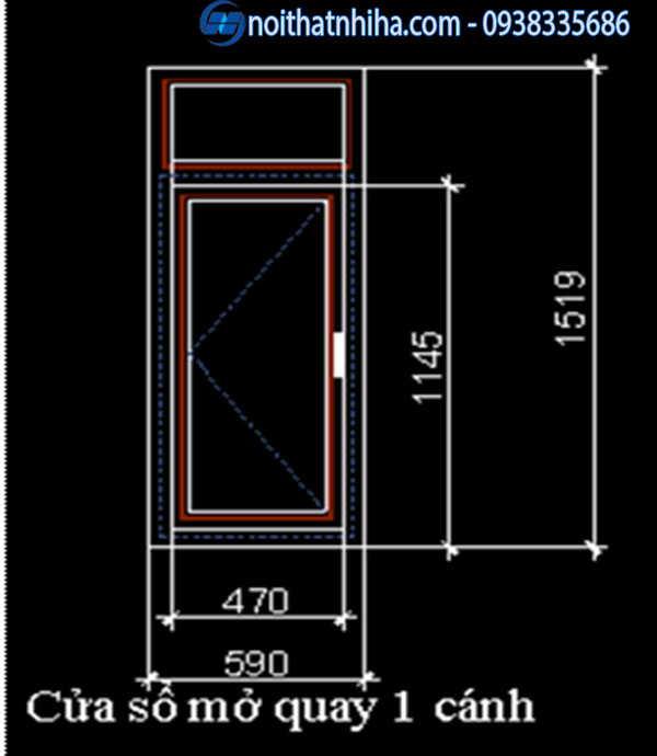 Kích thước cửa sổ 1 cánh