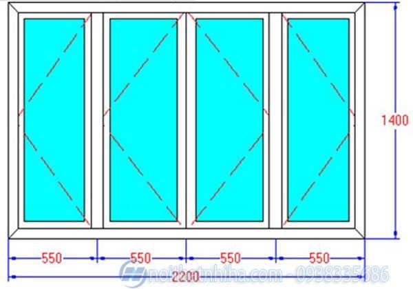 kích thước cửa sổ 4 cánh mở quay