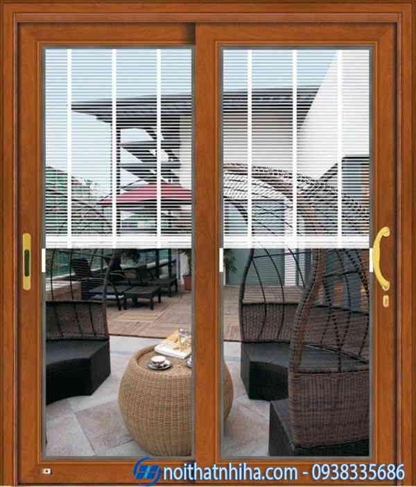 Cửa sổ nhôm kính 2 cánh vân gỗ