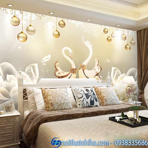 Tranh kính 3D phòng ngủ sang trọng