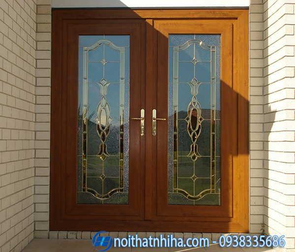 Cửa nhôm Xingfa vân gỗ kính cường lực