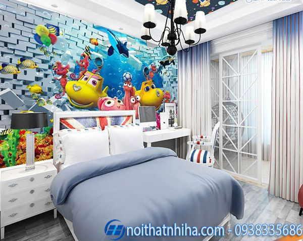 Tranh kính 3D phòng ngủ phù hợp với trẻ nhỏ