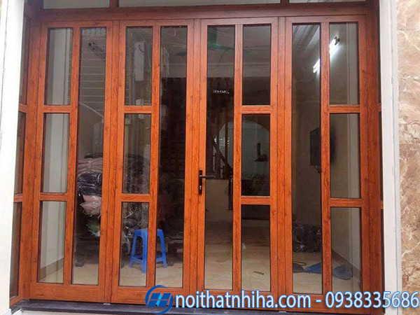 Cửa nhôm Xingfa vân gỗ chia ô