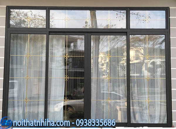 Cửa nhôm Xingfa kính hộp kết hợp rèm vải