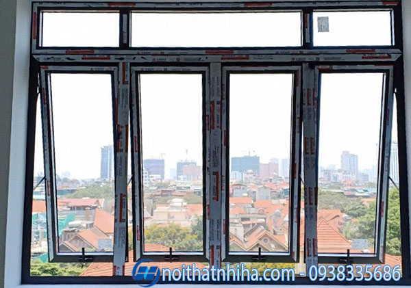 Cửa sổ 4 cánh mở hất nhôm Xingfa