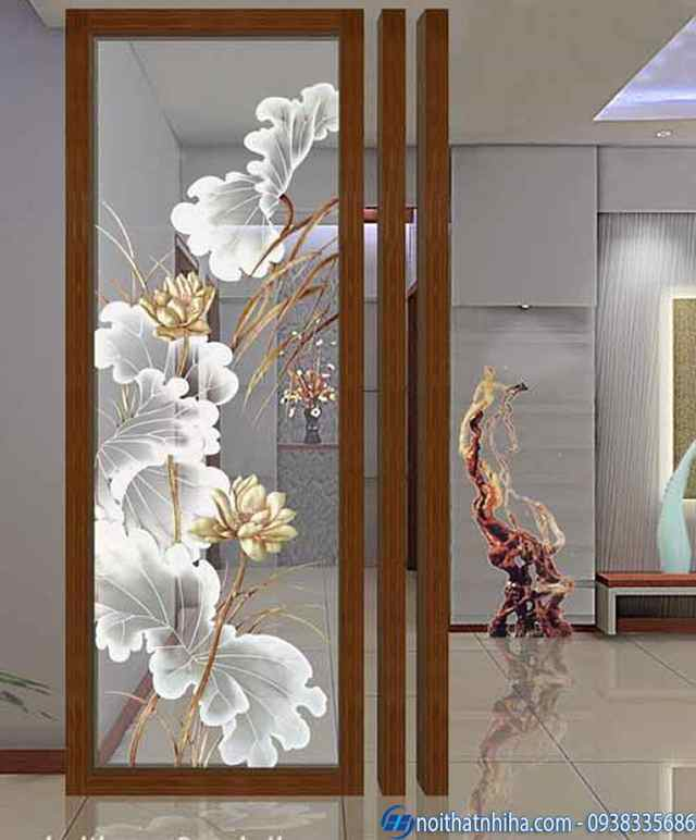 Cửa nhôm kính mờ phun cát, hoa văn nghệ thuật