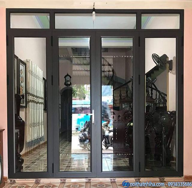 mẫu cửa nhôm kính phòng khách