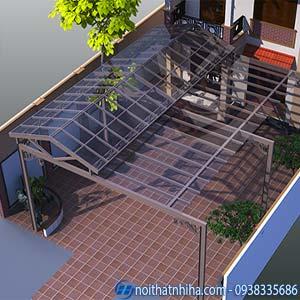 mái che sân trước nhà bằng kính