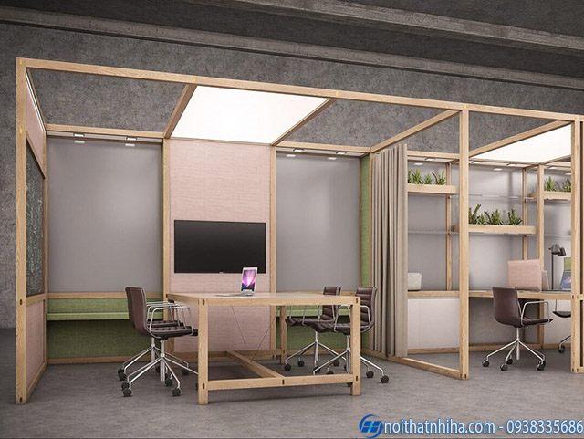 Vách kính khung gỗ phòng làm việc