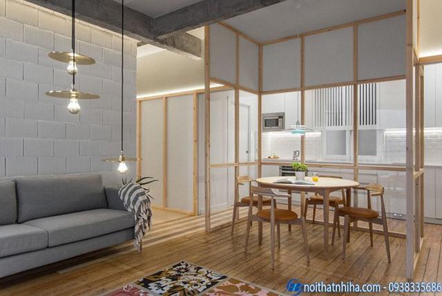 Vách kính khung gỗ cho phòng khách