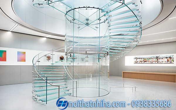 Cầu thang kính inox đẹp