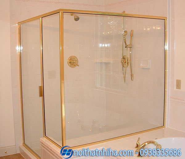 Cabin phòng tắm 180 độ phụ kiện inox mạ vàng