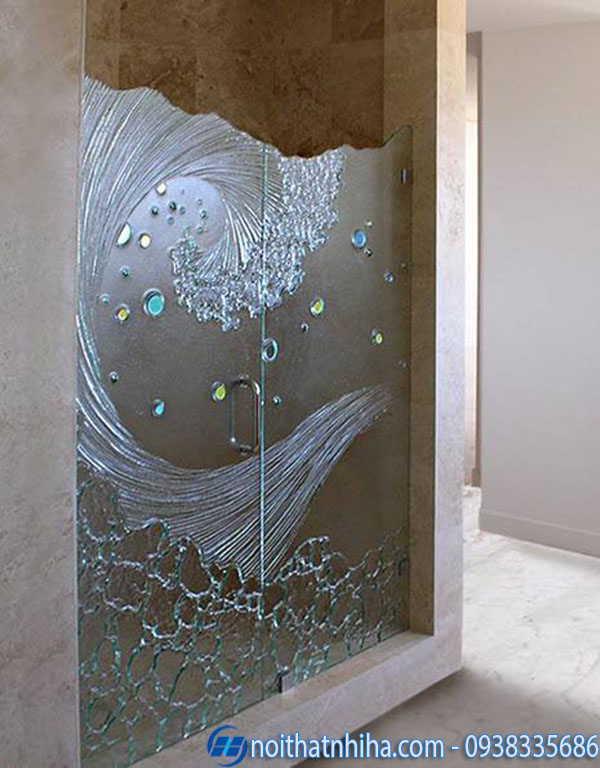 Cabin phòng tắm 180 độ kính đúc hoa văn