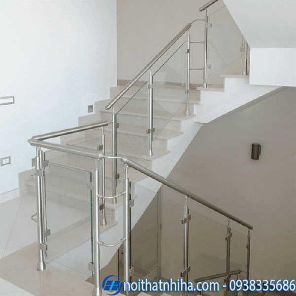 Cầu thang kính inox 304 cao cấp