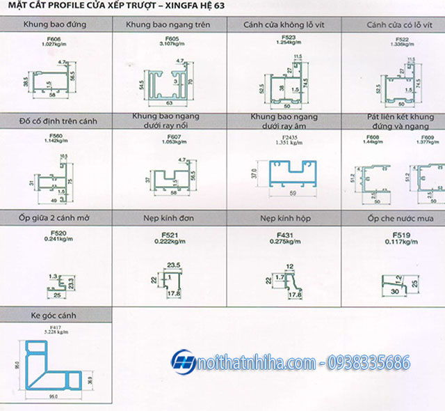 Catalogue mặt cắt nhôm Xingfa hệ 63