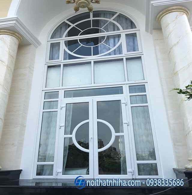 Mẫu cửa nhôm kính Hà Nội thiết kế uốn vòm sang trọng