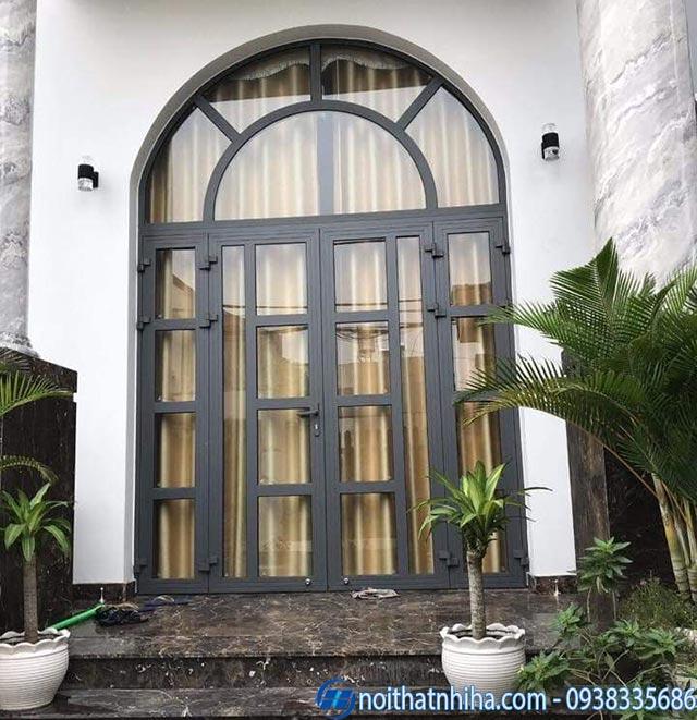 Mẫu cửa nhôm Xingfa uốn vòm cho mặt tiền