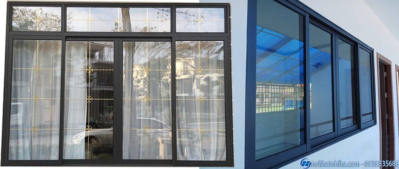 Mẫu cửa sổ nhôm kính mở lùa