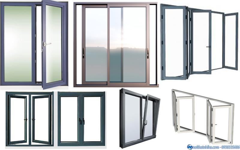 Thiết kế cửa nhôm kính đầy đủ kiểu dáng