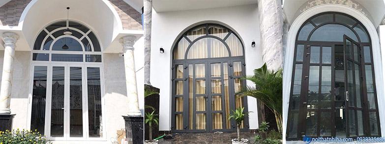 Thiết kế cửa nhôm kính uốn vòm cho mặt tiền đẳng cấp sang trọng