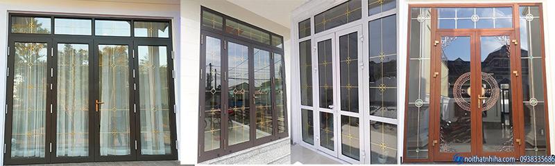 Mẫu cửa nhôm kính 4 cánh mặt tiền dùng kính hộp cách âm cách nhiệt