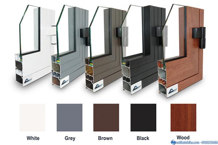 Profile nhôm làm cửa đầy đủ màu sắc