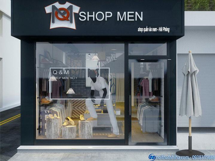 Cửa kính khung sắt 1 cánh lắp đặt cho mặt tiền shop quần áo