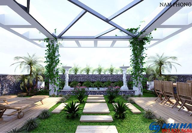 Mái kính sân vườn đẹp