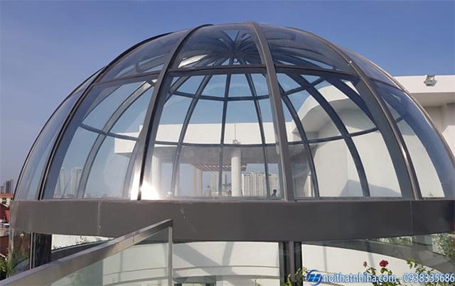 Mẫu thiết kế mái vòm kính cường lực đẹp