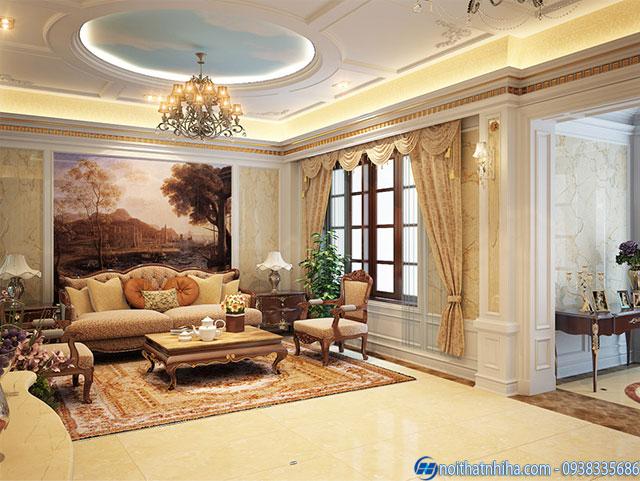 Mẫu trần thạch cao cổ điển phòng khách