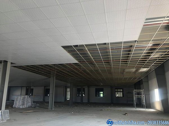 Công trình trần thạch cao nhà xưởng do Noithatnhiha thi công
