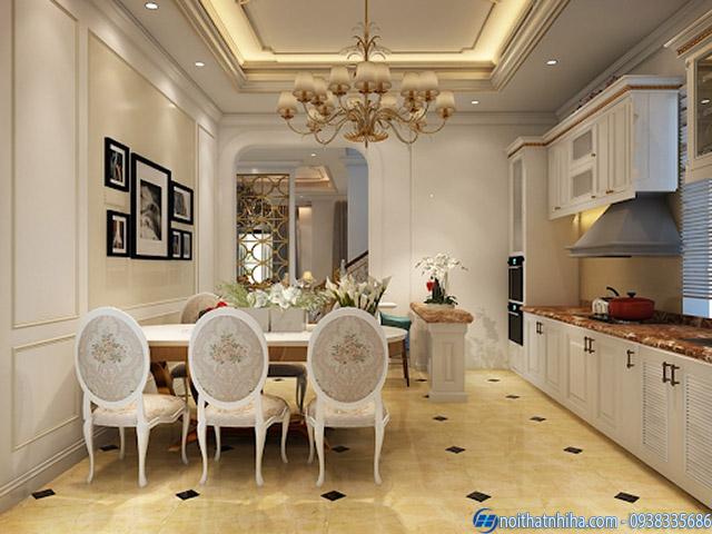 Trần thạch cao phòng bếp phong cách tân cổ điển
