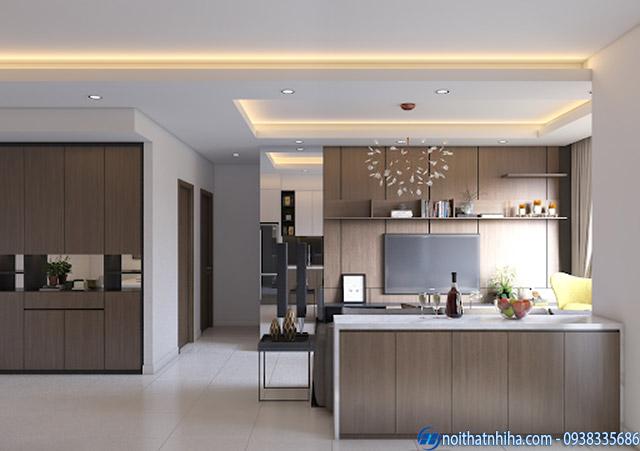 Mẫu trần thạch cao phòng bếp căn hộ