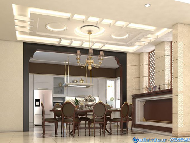 Trần thạch cao phòng bếp hiện đại