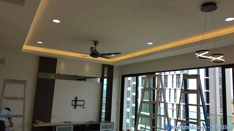 Công trình trần thạch cao phòng khách hoàn thiện