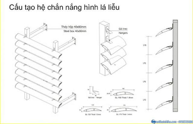 Chi tiết cấu tạo Lam nhôm chắn nắng lá liễu