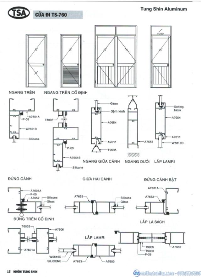 Bản vẽ cấu tạo cửa nhôm Tungshin