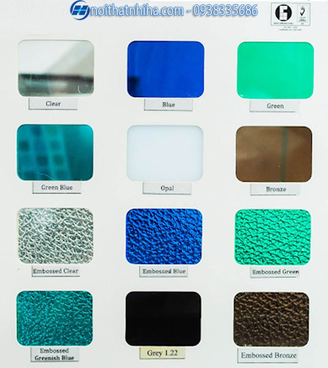 bảng màu tấm polycarbonate đặc ruột