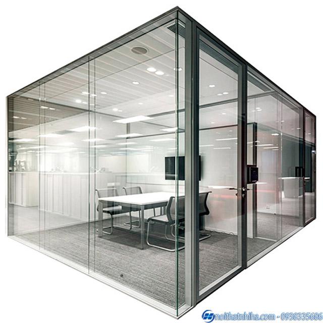 Vách kính cường lực khung inox văn phòng