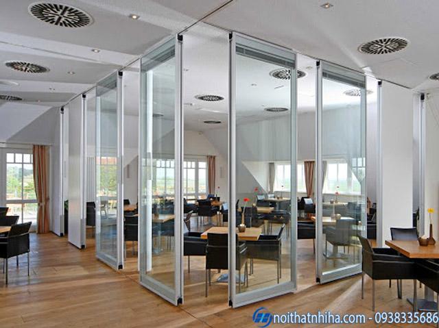 Vách ngăn di động văn phòng bằng nhôm kính cường lực