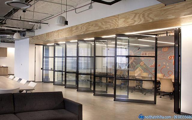 Vách ngăn di động văn phòng bằng khung nhôm sơn tĩnh điện chắc chắn bền bỉ