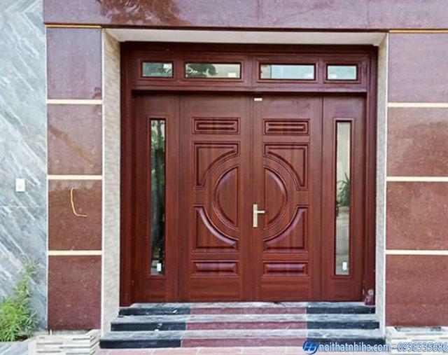 Mẫu cửa thép vân gỗ vân trắc