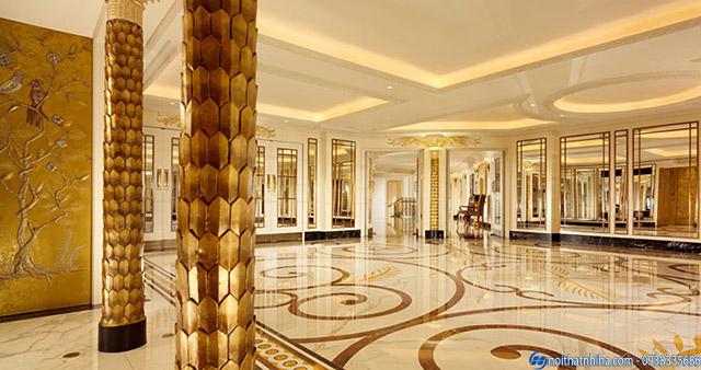 Ốp inox vàng gương trang trí cho khách sạn